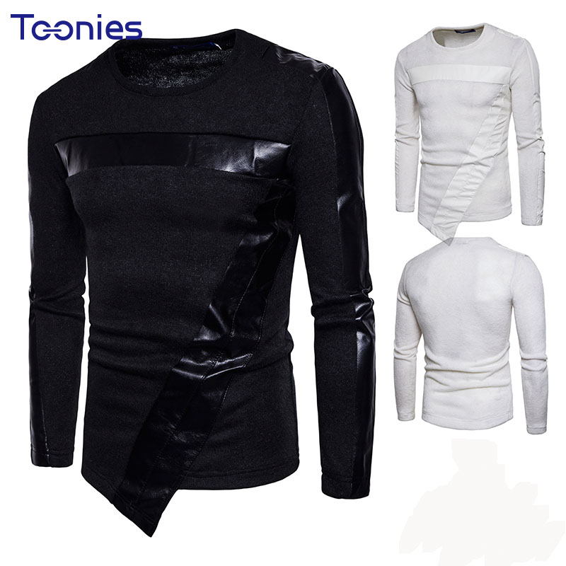 2018 New Design Mens Long Sleeved Sweaters Solid Color Patchwork Male Knitted Top O-neck Pullover Irregular Men Knitwear Sweater