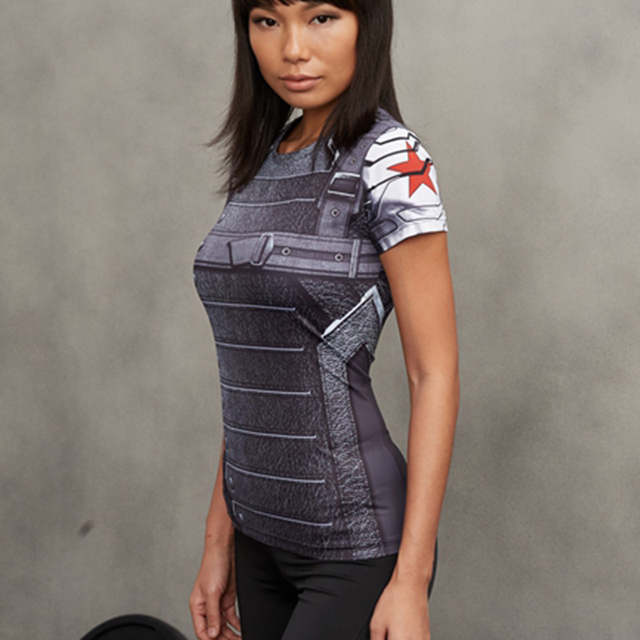 Winter Soldier 3D Printed T-shirts Women Captain America Compression Shirt  Short Sleeve Cosplay Costume For Ladies Tops Female fa147ef022b1