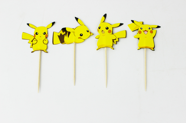 24pcs Lovely Cartoon Pikachu Cup Cake Topper Pick Party Supplies Picks Birthday Wedding Decoration