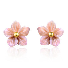 100% 18K Pure Gold Shell Carvings Pink Peach Flowers Stud Earrings For Women Elegant Lady Gift AU750 Gold Jewelry цены онлайн