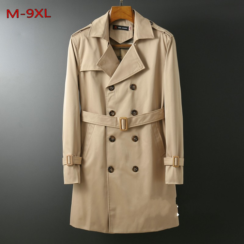 Winter autumn plus size M-6xl 9xl 8xl men velvet   Trench   turn-down collar loose double breasted X-long jacket with Sashes coats