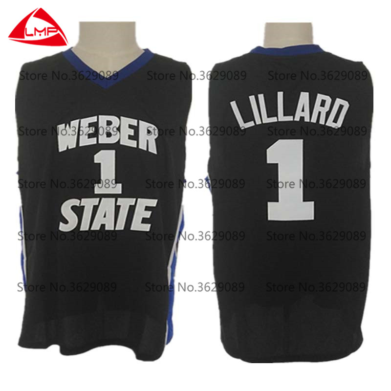 36b9b1524a71 Damian Lillard Jersey Weber State College  1 Throwback Basketball Jersey  Vintage Retro Basket Shirts For Men Stitched