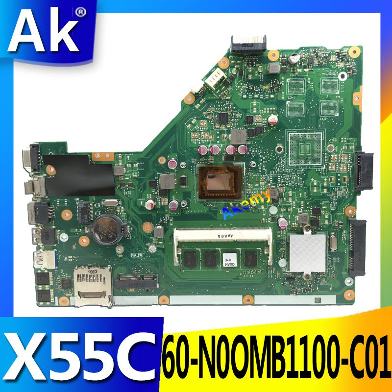 AK X55C 4GB RAM Memory Mainboard For ASUS X55C X55CR X55V X55VD Laptop motherboard DDR3 60 N0OMB1100 C01 100% Test