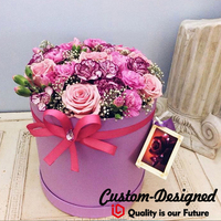 Valentine S Day Pack Ring Luxury Paper Tube Gift Packaging Flowers With PVC Window Packaging Round