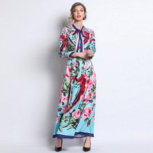 European style bowtie floral print maxi dress New 019 spring summer runways long sleeves A245