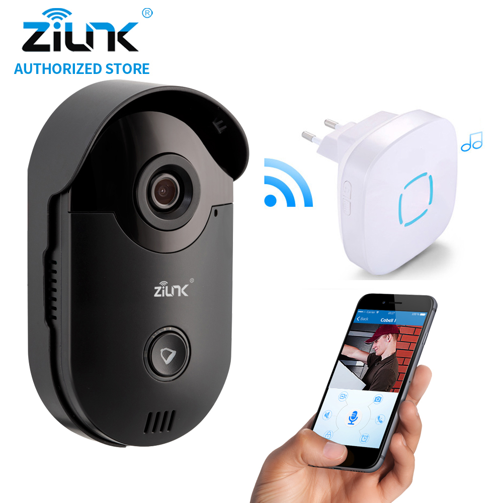ZILNK Video Intercom HD 720P WIFI Doorbell Camera Smart Home Security Night Vision Wireless Doorphone With Indoor Chime Black 7 inch video doorbell tft lcd hd screen wired video doorphone for villa one monitor with one metal outdoor unit night vision