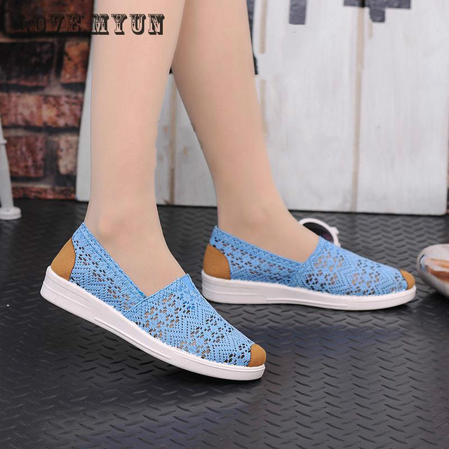 2017 Summer Flat Shoes Woman Comortable Casual Flats Outdoor Women's Shoes Leisure Hollow Breathable Women Shoes Size 35-41