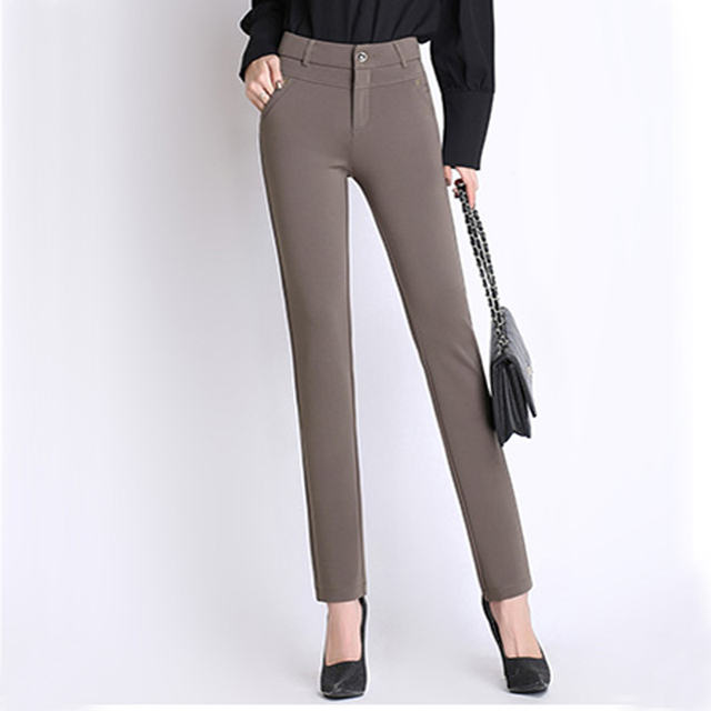 Spring Autumn  pants women office work High stretch cotton ladies pants Thicken female High Waist trousers  Plus Size 27-34