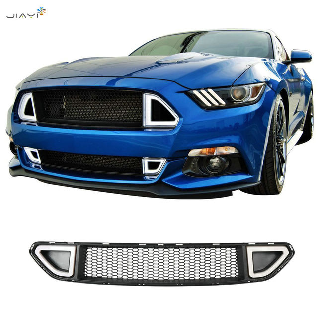 86ff249335bf Black ABS Front Grill Grille Hood Bumpe with White LED DRL lamp Mesh Insert  Accent Vent Lights For Ford Mustang 2015-2018 2017