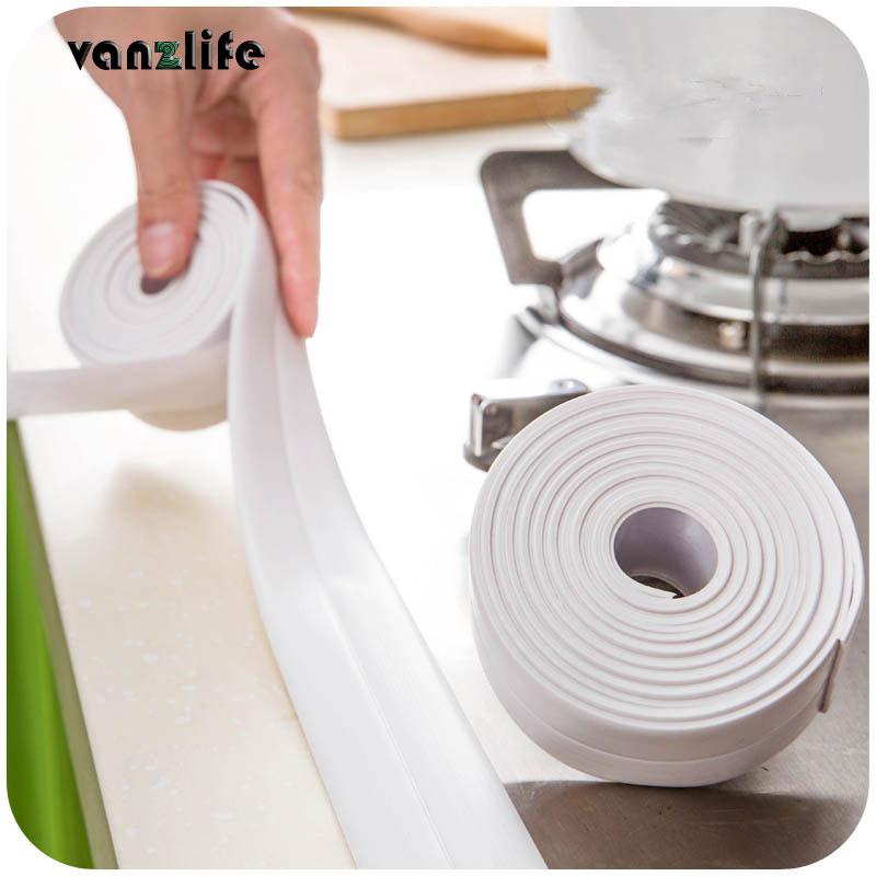 Vanzlife kitchen waterproof mildew proof tape line corner seams moisture mildew protection collision rubber strip