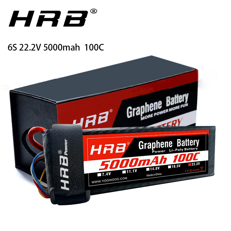 HRB Graphene Battery <font><b>6S</b></font> 22.2V <font><b>5000mah</b></font> 100C 200C XT60-T connector Lipo Battery for goblin trex 600 helicopter RC Car Boat Drones image
