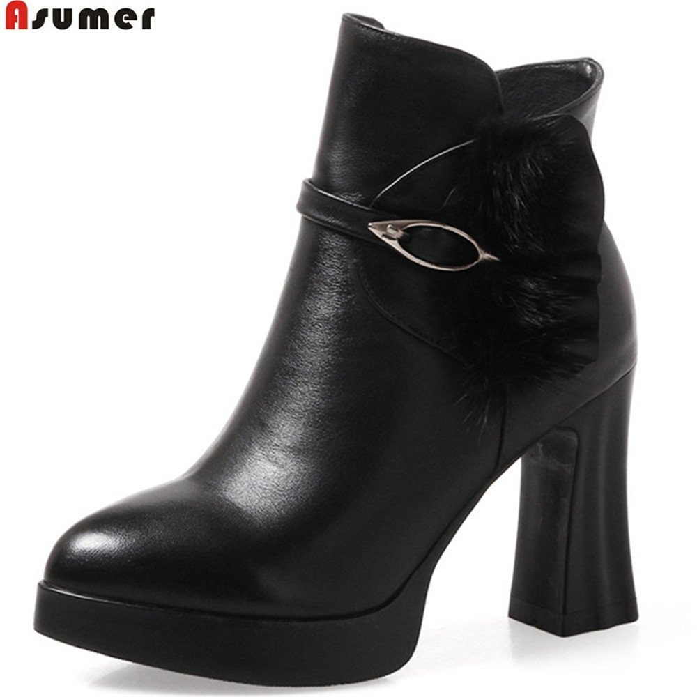 ASUMER 2018 hot sale new arrive women boots black red white ladies genuine leather boots zipper platform cow leather ankle boots memunia new arrive hot sale genuine