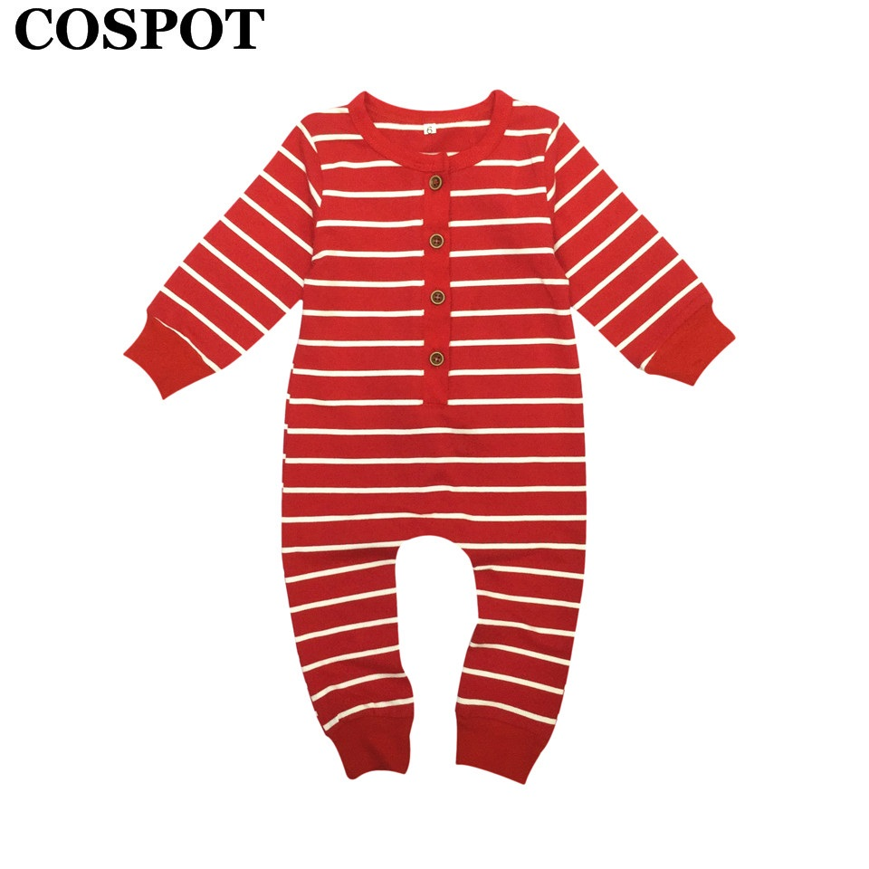cospot baby girls boys christmas romper newborn red striped jumper infant christmas autumn pajamas toddler kids jumpsuit e28