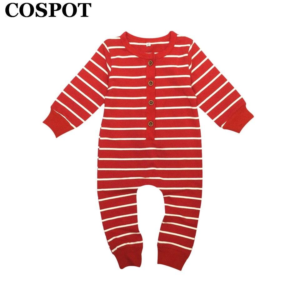 COSPOT Baby Girls Boys Christmas Romper Newborn Red Striped Jumper Infant Christmas Autumn Pajamas Toddler Kids Jumpsuit E28