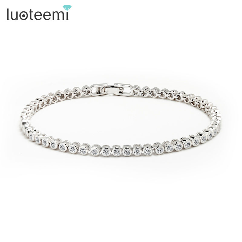 LUOTEEMMI Kina Produsent Custom Dame Fashion Round CZ Tennis Armbånd Armbånd Factory Direct Wholesale White Gold-Color