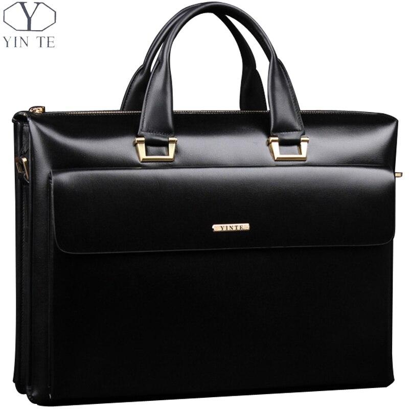 YINTE кожа Для Мужчин's Портфели Бизнес мужские черные сумки Высокое качество сумка-мессенджер 14-дюймовый ноутбук сумка Для Мужчин's портфель ...