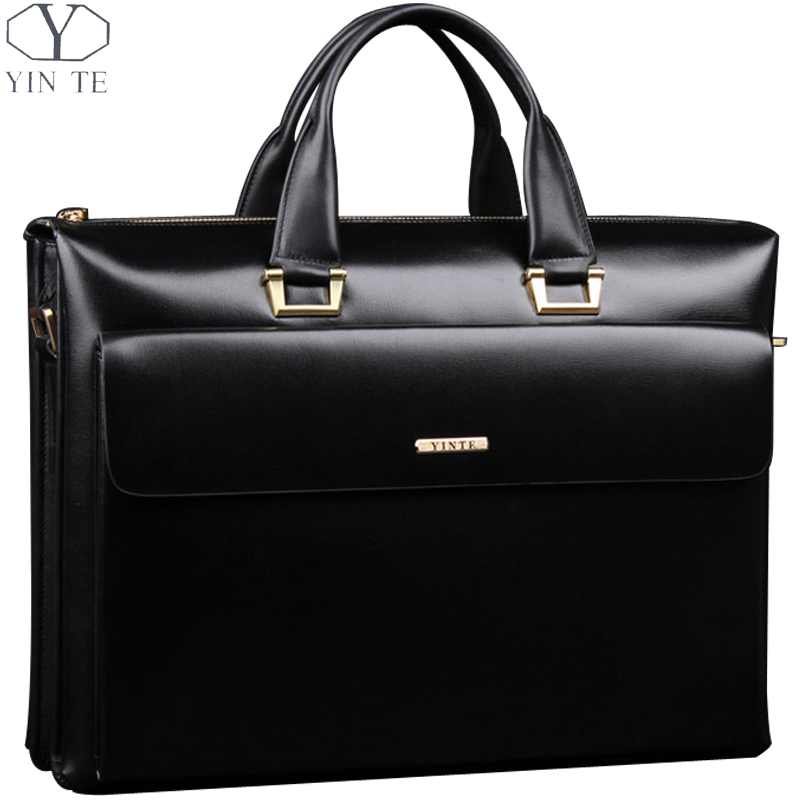 YINTE Leather Men's Briefcase Business Men Black Handbag High Quality Messenger 14inch Laptop Bag Men's Totes Portfolio T8182-3 yinte leather men s briefcase black bag fashion business messenger totes laptop bag ostrich prints men s portfolio t8518 6