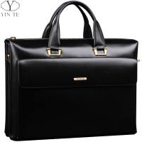 YINTE Leather Men's Briefcase Business Men Black Handbag High Quality Messenger 14inch Laptop Bag Men's Totes Portfolio T8182 3