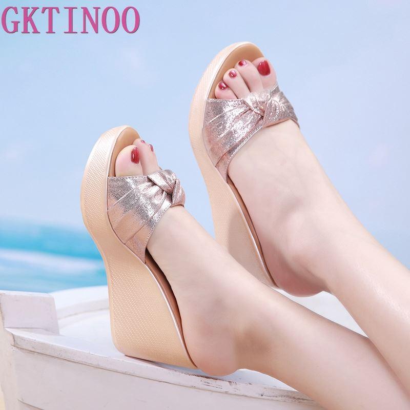 GKTINOO Plus Size 32-43 Open Toe Wedges Slippers Women Shoes Summer 2020 Gold High Heels Slides Ladies Beach Slippers