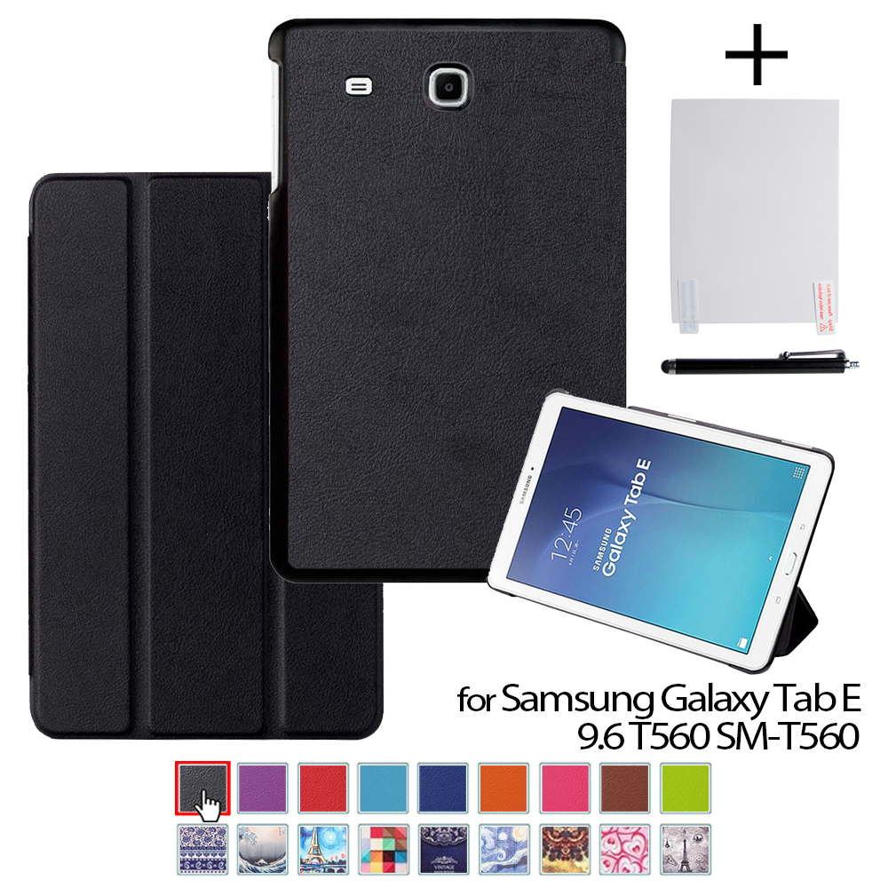 For Samsung Tab E 9.6 T561 Auto Sleep Leather Cover Case Funda For Samsung GALAXY Tab E 9.6 T560 SM-T560+protector Film+stylus
