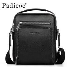 PADIEOE Brand Men Messenger Bag 100% Genuine Leather Casual Crossbody Bag Business Men's Handbag Bags for gift Shoulder Bags Men