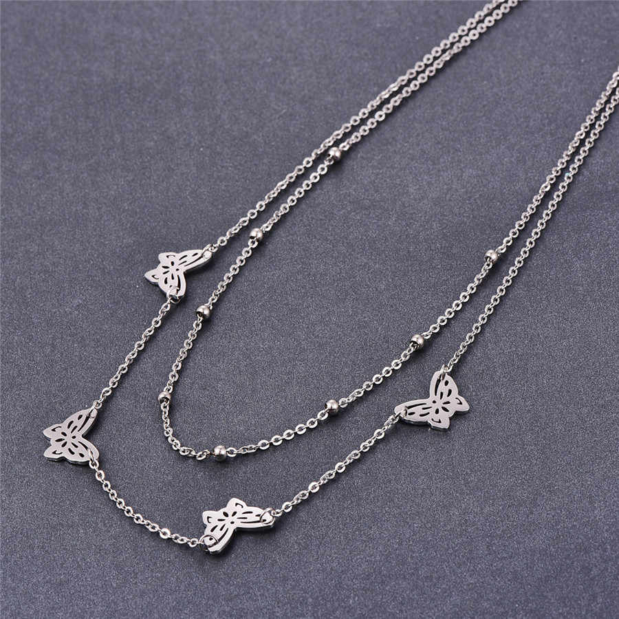 Martick Stainless Steel Butterfly Pendant Necklace Double Layer Beads Link Chain Necklace Fashion Jewelry For Women P120
