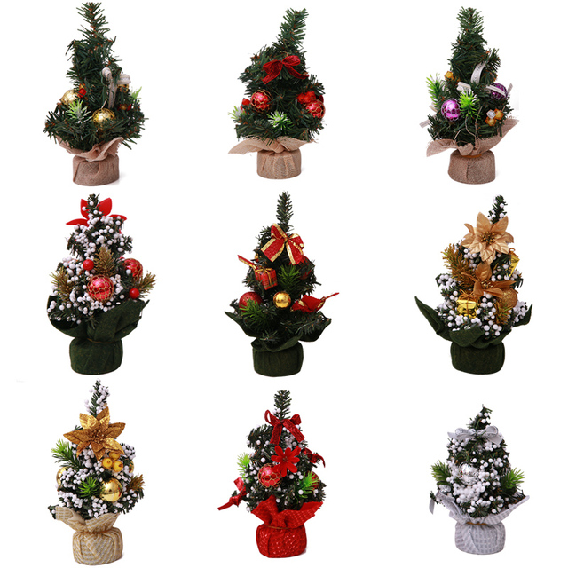10pcs Lot Xmas Mini Tabletop Small Christmas Tree Crafts Decorations For Festival Holiday Table