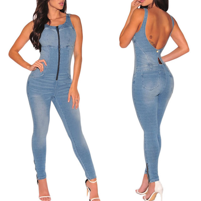 2f12f991cb88 2017 Women Denim Jumpsuit Overall Jumpsuit Jeans Rompers Long Pants with  Zipper Solid Blue Sexy Playsuits
