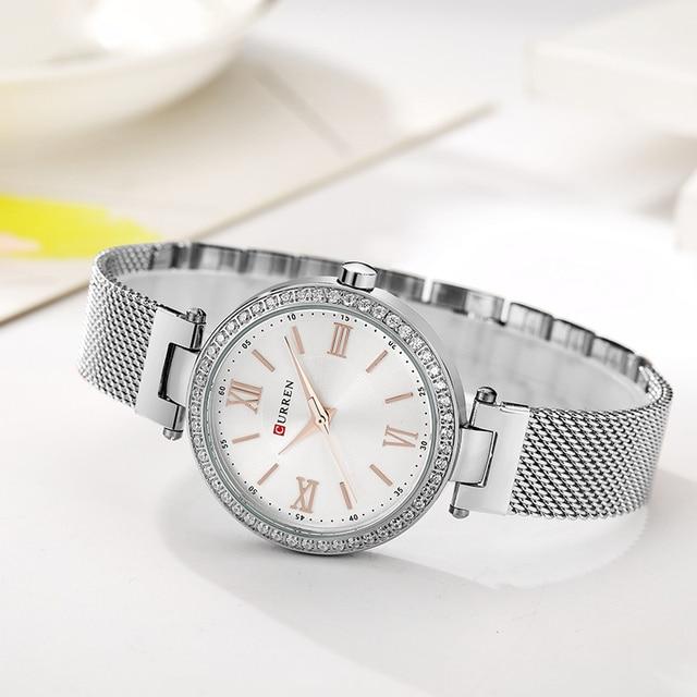 CURREN 9011 Fashion Silver Women Watches High Quality Ultra thin Quartz Watch Wo
