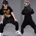 Crianças Das Meninas Dos Meninos de Manga Curta Modernas Roupas de Dança Jazz Hip Hop Ballroom Dancewear Trajes Moletom + Topos de dança roupas