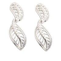 Leaf Shape White Stone 2 2mm Semi Precious Silver Cool For Womens Stud Earrings ED0398