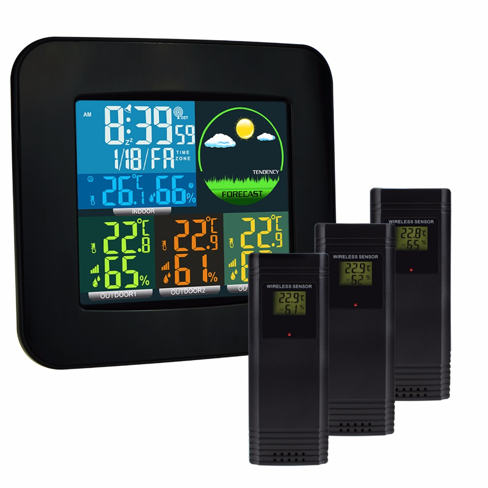 Digital Weather Station Thermometer & Hygrometer 6 Kinds Weather Forecast 3 Wireless Sensor with Alarm Clock DCF MSF RCC