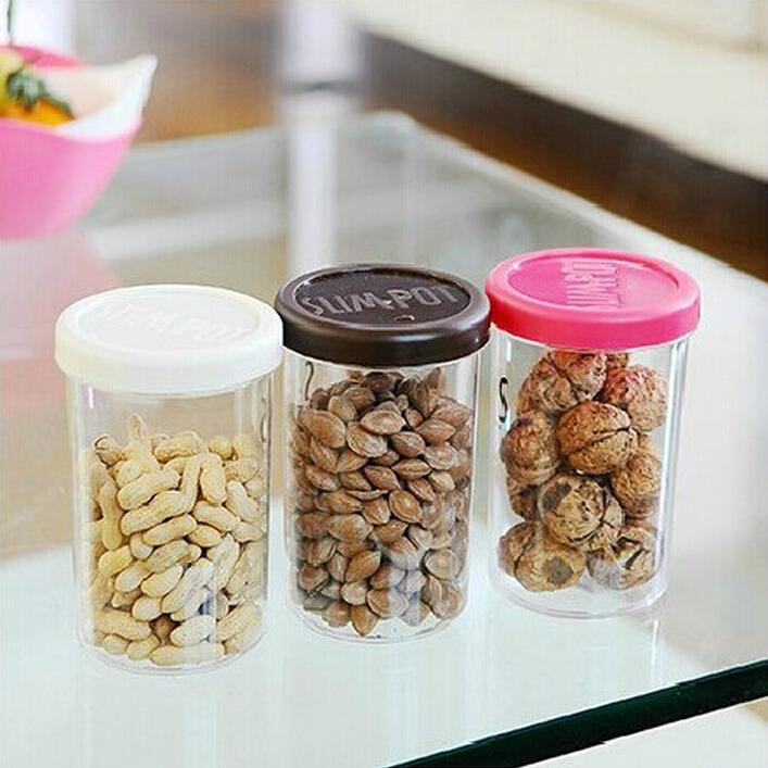 Kitchen Plastic Clear Food Storage Jar Tea Canister Dried Fruit Nuts