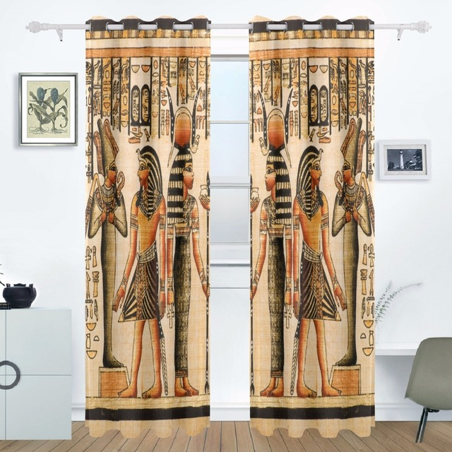 2017 Ancient Egypt Art Curtains Drapes Panels Window Blackout Curtain  Divider For Patio Window Sliding Glass