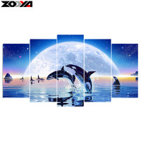 Zhui Star 5d Diy Diamond Embroidery Moonlight Dolphin 5PCS Diamond Painting Cross Stitch Full Drill Rhinestone