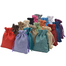Handmade Jute burlap Hessian Drawstring Gift wedding favor Bags For Soap Jewelry Christmas Coffee Beam Packaging sack 100pcs