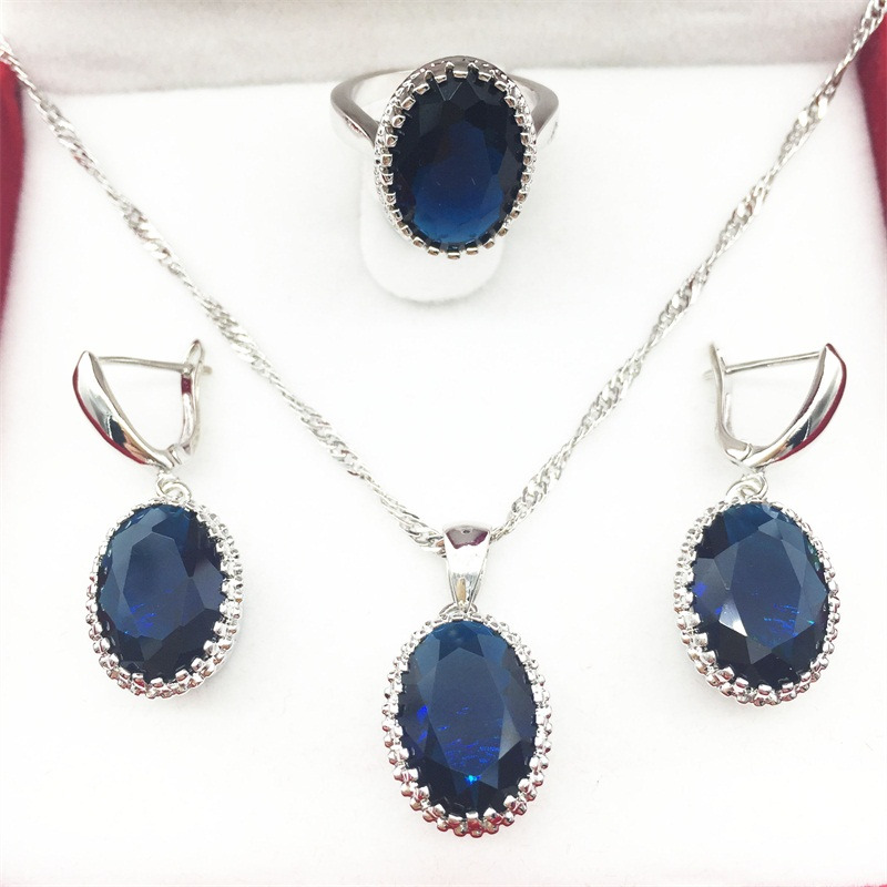 Oval Montana Blue Stone Jewelry Sets For Women 925 Silver