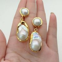 White Keshi Pearl Golden Plated Earrings
