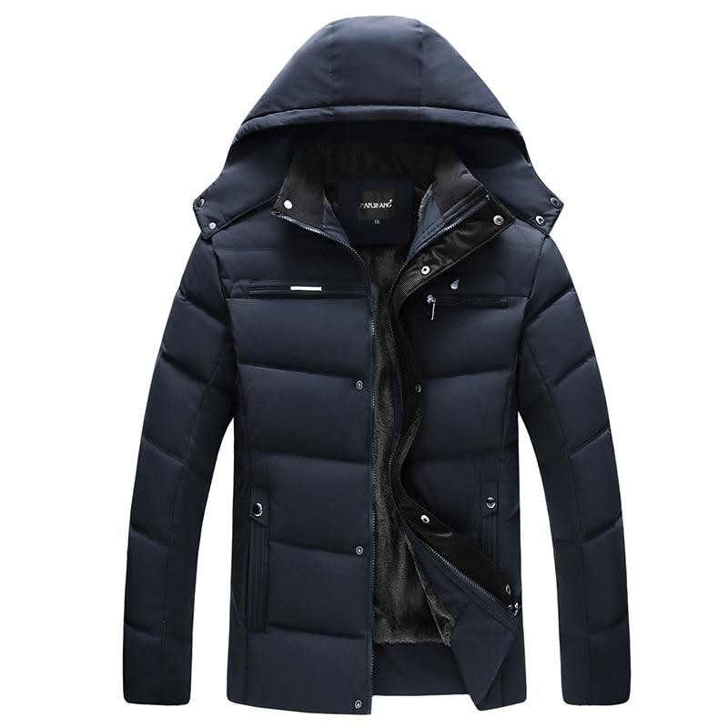 2018 New Winter Warm Thick Fleece   Parkas   Jacket Mens Cotton Black Stand Collar Coat For Men Causal Hat Detachable Overcoat WFY12