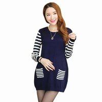 New Autumn Winter Striped Knitted Maternity Sweaters Pullovers Cardigans Warm Clothes For Pregnant Women Loose Maternity