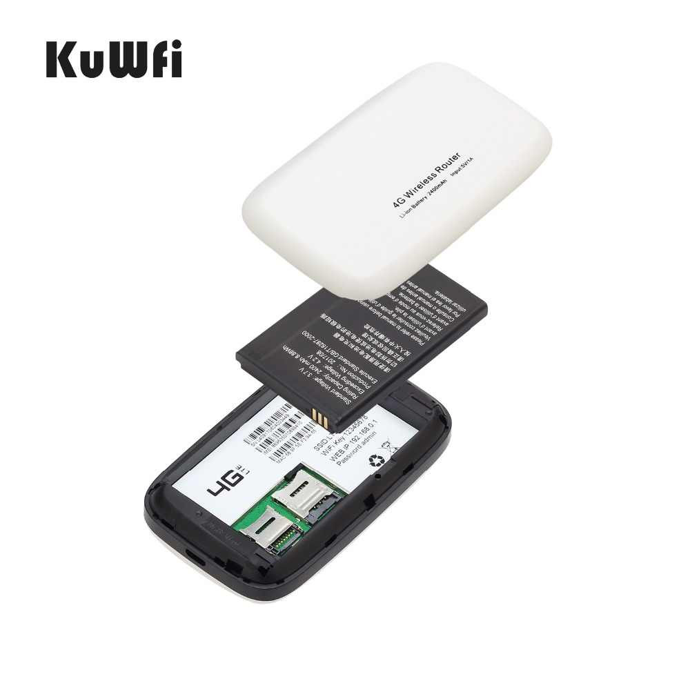KuWFi 4G Router inalámbrico a 150Mbps Wifi 3G/4G LTE Routers desbloqueado Sim Global tarjeta TDD /ENRUTADOR FDD con tarjeta SIM y ranura para tarjeta TF