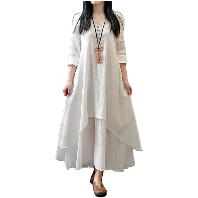 cfb9f33758c Plus Size cotton linen Comfortable summer dress 2019 Fashion vintage Boho  Loose Long Sleeve V-Neck casual women white Maxi Dress