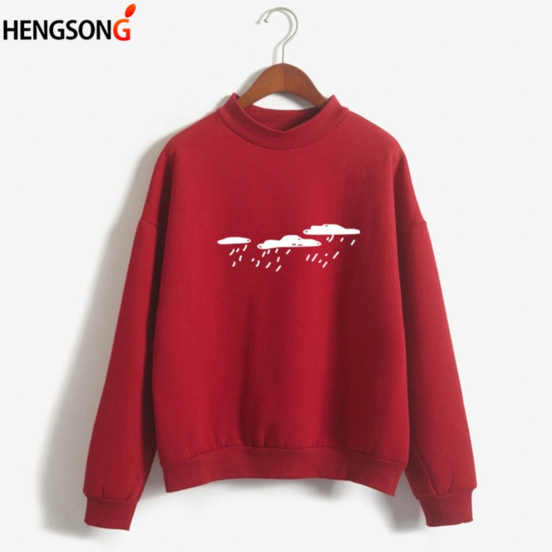 Casual Spring Autumn Pullovers Harajuku Sweatshirt Women Long Sleeve Hoodies Moletom Feminino Cloud Printed Hoody streetwear