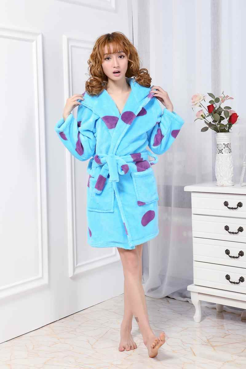 ... Flannel Women s Robes Cute Character Long Sleeve Hooded Robe Sexy Night  Robe Bathrobe Winter Dressing Gowns ... 6dce1e89d
