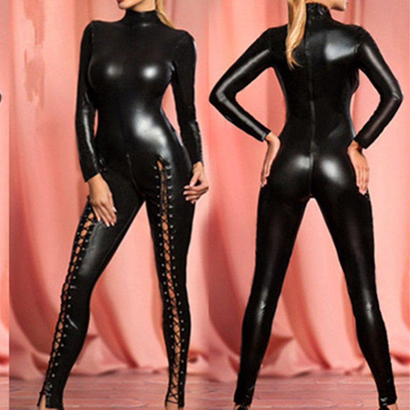 Women Black Body Suit 2way Zipper Clubwear Lace Up Patent Leather Jumpsuit