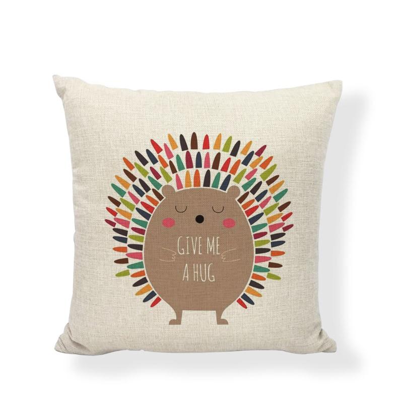 Cushion Covers Love Hedgehog Cartoon Print Cotton Linen Wedding Decor Car Seats Kids Birthday Camping Square Throw Pillow Cases