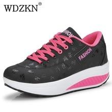 Wdzkn Большие размеры 35–42 женская обувь 2017 Демисезонный женская обувь для танцев на шнуровке круглый носок женская обувь на плоской подошве повседневная обувь на платформе