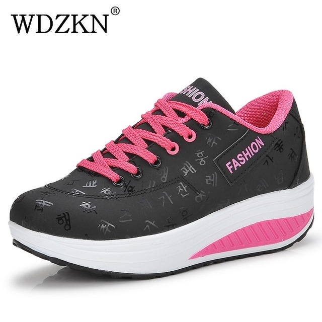 WDZKN Big Size 35-42 Women Shoes 2017 Spring Autumn Swing Shoes Woman Lace Up Round Toe Women Flat Platform Casual Shoes