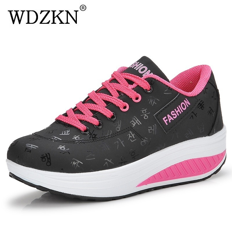 WDZKN Big Size 35-42 Women Shoes 2018 Spring Autumn Swing Shoes Woman Lace Up Round Toe Women Flat Platform Casual Shoes
