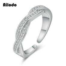 Ailodo Crystal Twist Classical Engagement Rings For Woman Girls Rose Gold Silver Color Wedding Rings Bague Femme Jewelry LD139 цена и фото